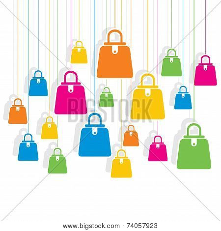 creative colorful shopping bag pattern background design vector