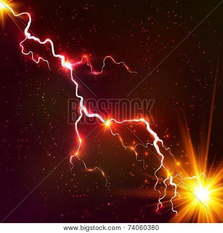 Red shining cosmic plasma vector lightning