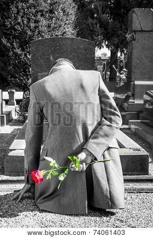 man at the cemetery