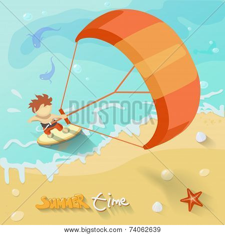 Summer time poster. Vector illustration with Sea, sun, ocean, fich,crab and shake. Flat style