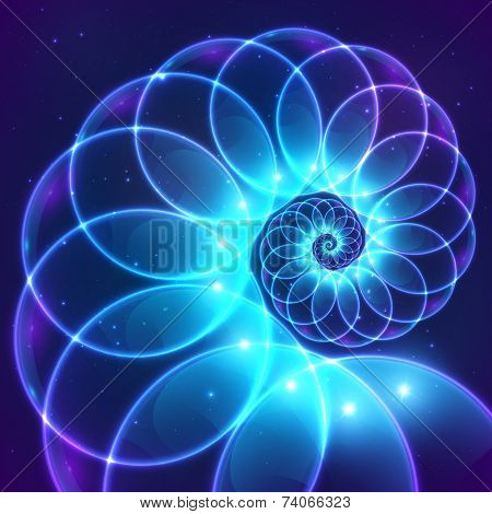 Blue abstract vector fractal shining cosmic spiral poster