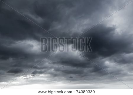Dark stormy clouds. Natural photo background texture poster