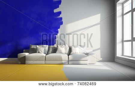 3D  Yellow And Blue Room