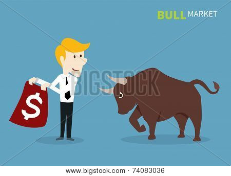 bull treading on the stock market.