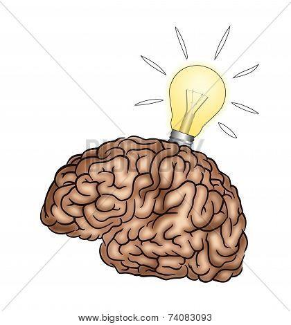 Creative Brain With Light Bulb - Illustration
