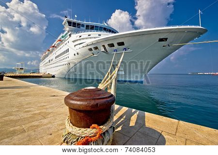 Cruise Ship On Dock In Zadar