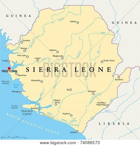 Sierra Leone Political Map with capital Freetown, national borders, important cities, rivers and lakes. English labeling and scaling. Illustration. poster