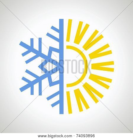 Sun and snowflake icon