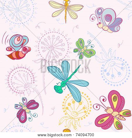 Vector nice pattern with Fun insects