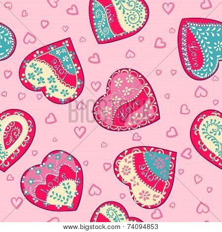 Vector Seamless Pink wallpapers with hearts.