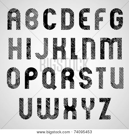 Grunge white and black rubbed upper case letters, decorative font.