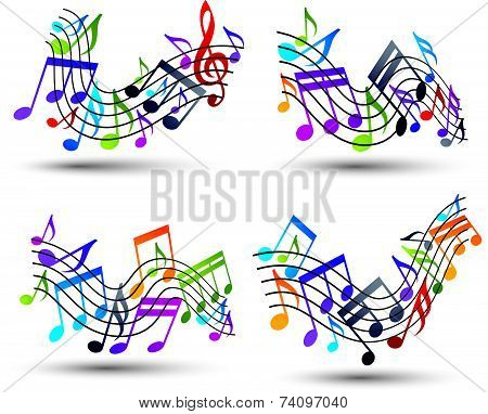 Bright staves with musical notes on white background, decorative major wavy set of musical not