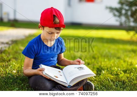 Little Boy Reading Fable Book