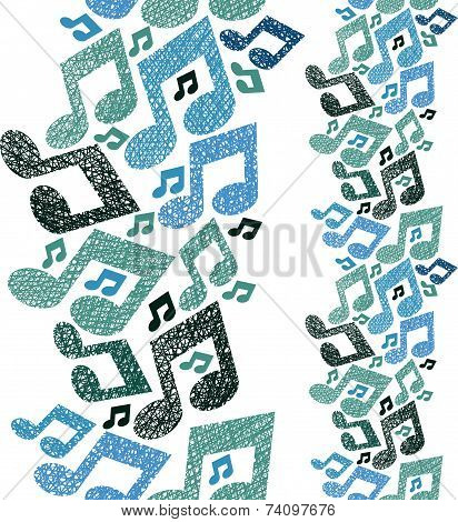 Music theme seamless pattern with notes, vertical composition, repeating ackground with hand drawn l