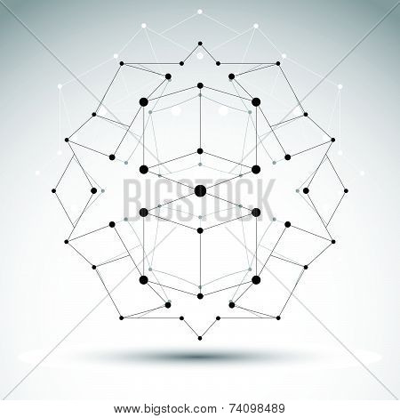 3D polygonal geometric wireframe object,  abstract design element, clear eps 8.