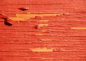 Worn yellow wood with red exfoliated paint poster