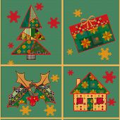 Christmas tree and house seamless pattern background in the style of patchwork poster