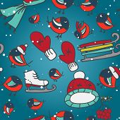 Winter seamless texture with bullfinches and sleds mittens cap skates poster