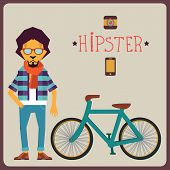 Concept of hipster with bicycle - vector illustration poster