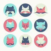 Stylized animal avatar set in flat style for social networks: character cats poster
