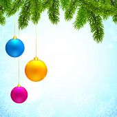 Christmas vector background with fir tree branches and colorful hanging balls poster