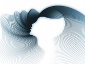 Geometry of Soul series. Backdrop of profile lines of human head to complement your design on the subject of education science technology and graphic design poster