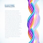 Vibrant colors plastic twisted cables vector background poster