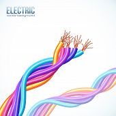 Colorful plastic twisted glossy cables vector background poster