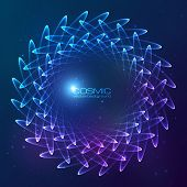 Blue abstract shining cosmic circle vector background poster