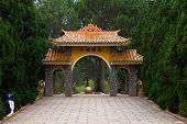 Gate Pagoda in Thien Vien Truc Lam Monastery. Dalat. Vietnam. poster