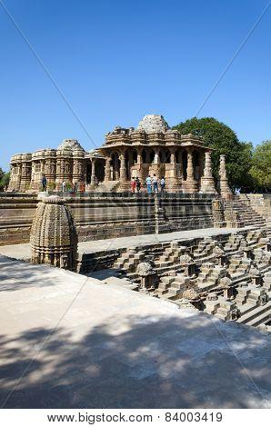 Ahmedabad India - December 25 2014: Tourist visit Sun Temple Modhera in Ahmedabad