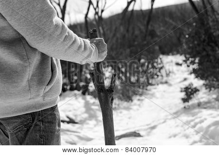 Man Walking Stick Black And White
