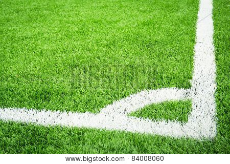 Green Soccer Field With Conner