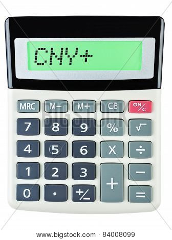Calculator with CNY on display on white background poster
