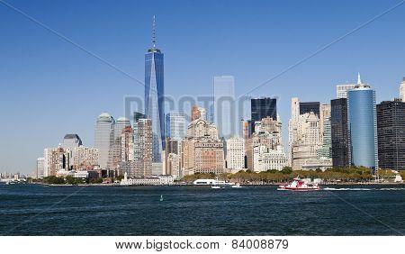 New York, Usa - Panorama And One World Trade Center