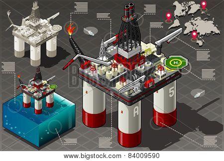 Isometric Infographic Rig Energy Set