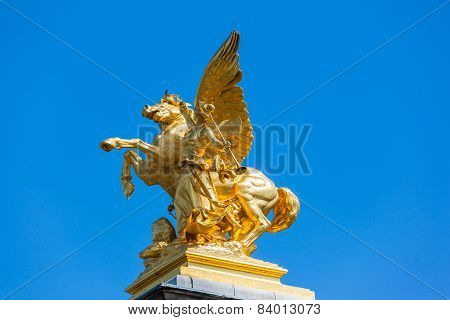 Sculpture On The Pillar On Ht Bridge Ofpont Alexandre Iii