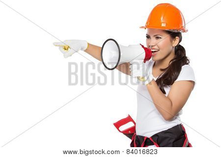 Female Construction Worker In Action