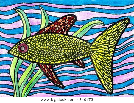 yellow fish with plants