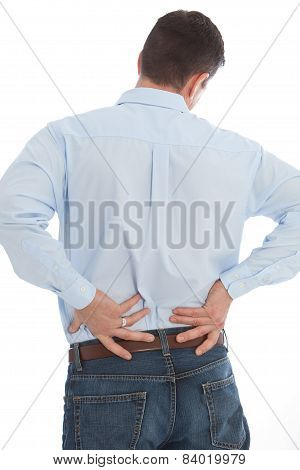 Businessman Suffering Back Pain Isolated On White