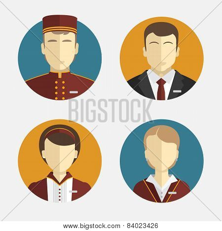 Avatars People. The Hotel Staff. Reception, Curtains, Maid Manager. Vector Flat Design