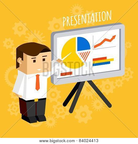 Businessman pointing at presentation board