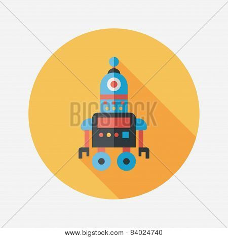 Robot Concept Flat Icon With Long Shadow,eps10