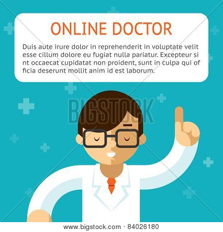 Doctor online vector illustration