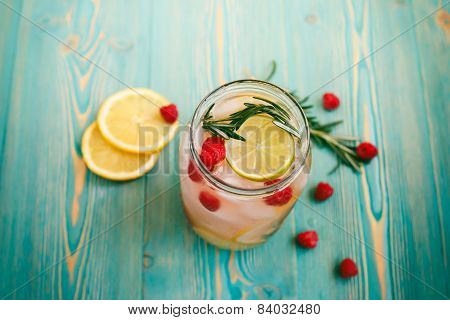 detox water with fruits and berries in jar, insta retro toned effect poster