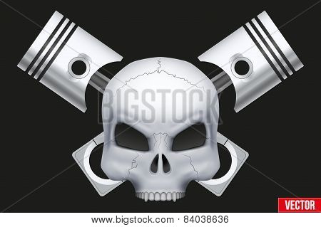 Vector Creative symbol Human skull with engine pistons