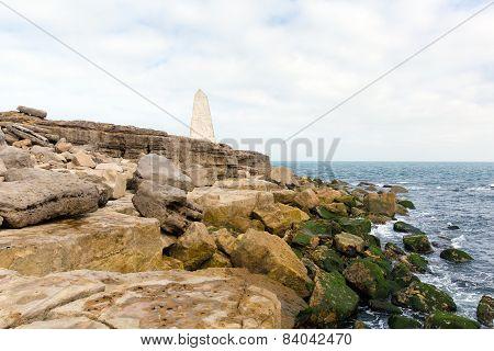 Obelisk Portland Bill Isle of Portland Dorset England UK south of the island warns ships of rocks