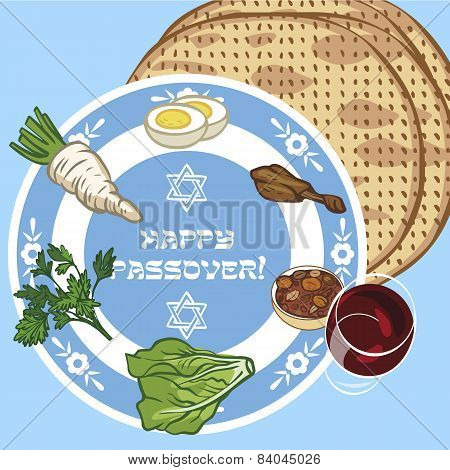 Funny Happy Jewish Passover Greeting Card. Vector Illustration
