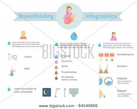 Infographics on the Facts and Features of Breastfeeding Woman of her Child. poster