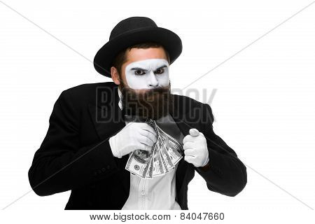mime as businessman putting money in his pocket